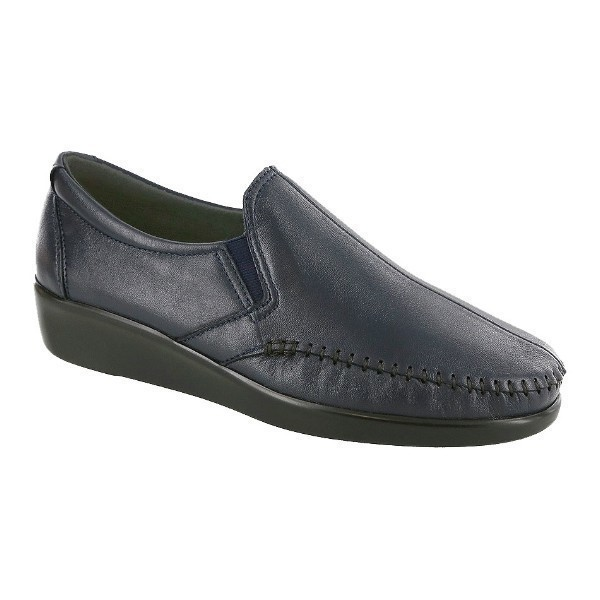 WOMEN'S DREAM NAVY LEATHER WEDGE Thumbnail