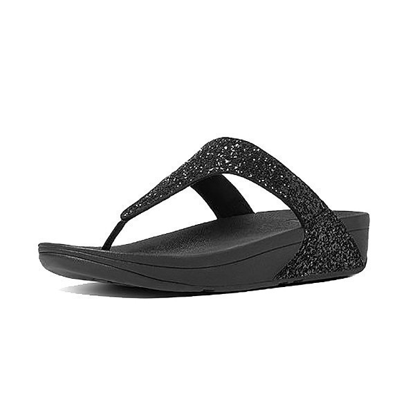 WOMEN'S GLITTERBALL T-POST BLACK FLIP FLOPS Thumbnail