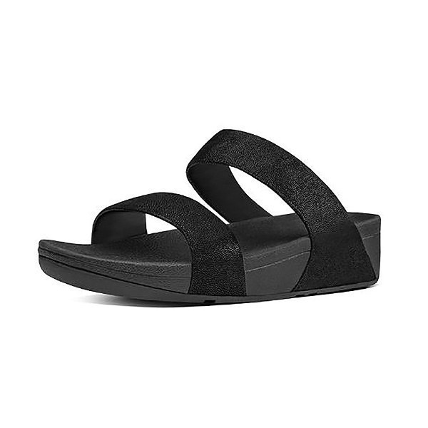 WOMEN'S SHIMMY SUEDE SLIDE BLACK SANDALS Thumbnail