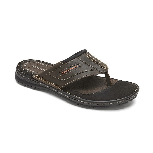 MEN'S DARWYN THONG BROWN SANDAL Thumbnail