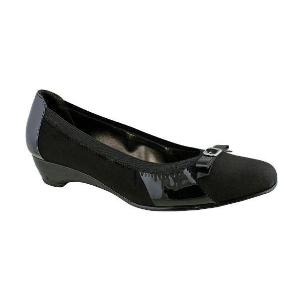 WOMEN'S BECKY BLACK MICRO/PATENT DRESS SHOE Thumbnail