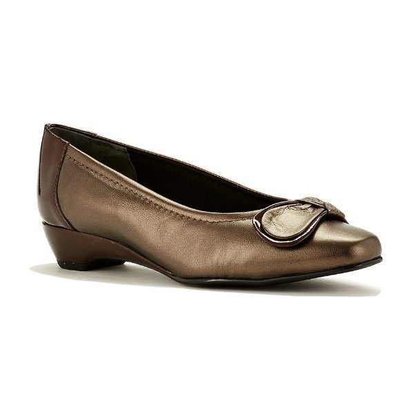 WOMEN'S BEAN BRONZE KID/PATENT DRESS SHOE Thumbnail