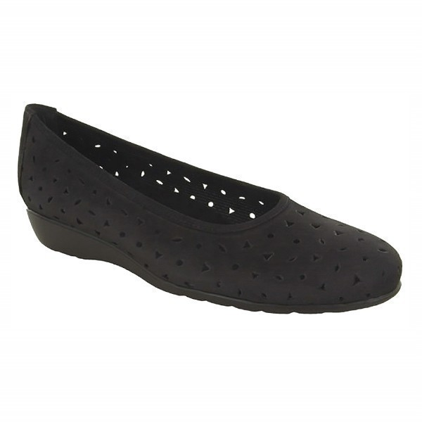 WOMEN'S AUBREY BLACK NUBUCK DRESS FLAT Thumbnail