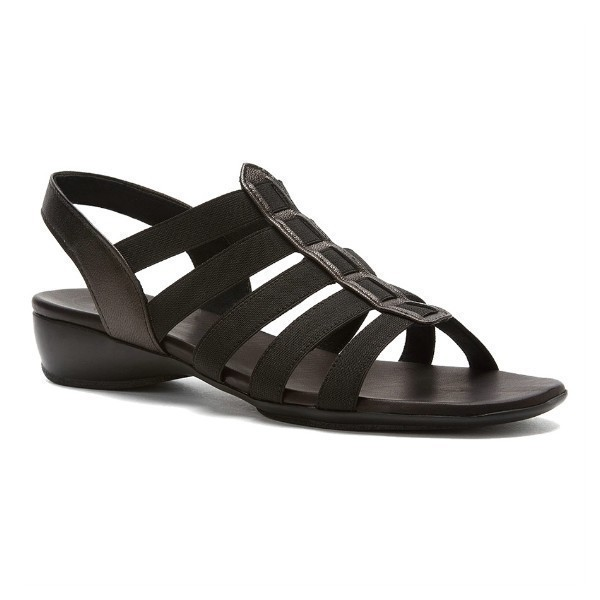 WOMEN'S DARIAN BLACK STRETCH/LEATHER SANDAL Thumbnail