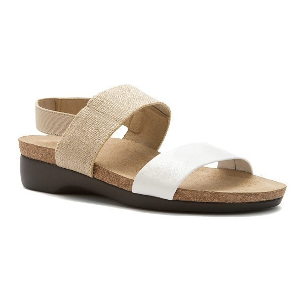 WOMEN'S PISCES NATURAL FABRIC/WHT KID SANDAL Thumbnail