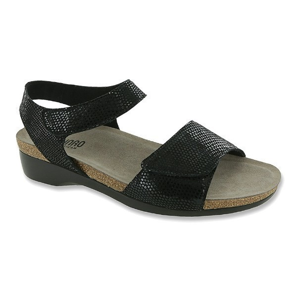 WOMEN'S CATELYN BLACK PRINT SUEDE SANDAL Thumbnail