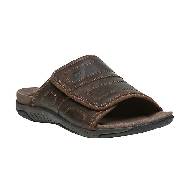MEN'S HATTERUS BROWN LEATHER SLIDE SANDAL Thumbnail