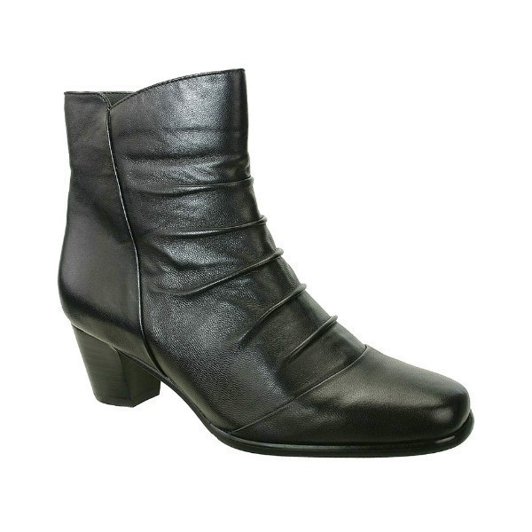 WOMEN'S NORA BLACK LEATHER SHORT DRESS BOOT Thumbnail