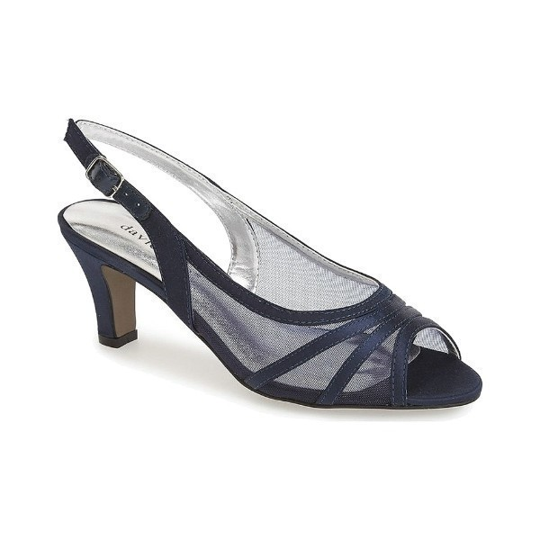 WOMEN'S PETAL NAVY SATIN EVENING SHOE Thumbnail