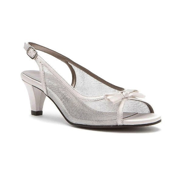 WOMEN'S PROM SILVER SATIN/MESH EVENING SHOE Thumbnail