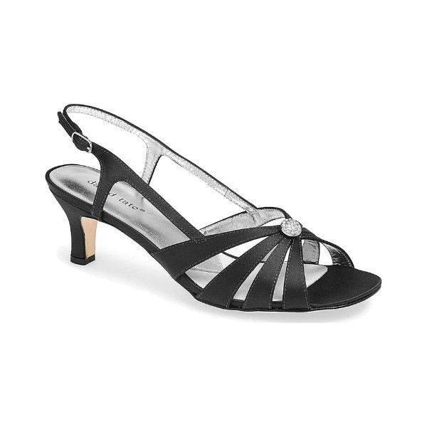 WOMEN'S ROSETTE BLACK SATIN EVENING SHOE Thumbnail