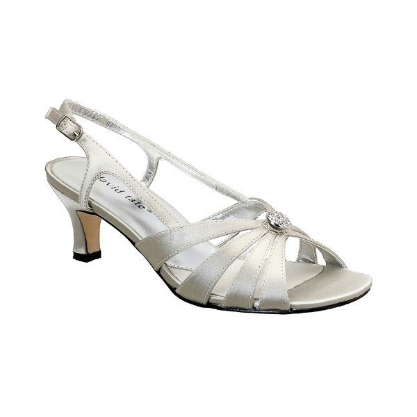 WOMEN'S ROSETTE SILVER SATIN EVENING SHOE Thumbnail