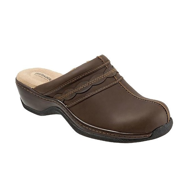 WOMEN'S ABBY DARK BROWN OILED LEATHER CLOG Thumbnail