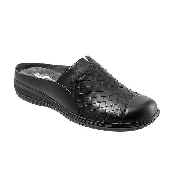 WOMEN'S SAN MARCOS WOVEN BLACK LEATHER CLOG Thumbnail