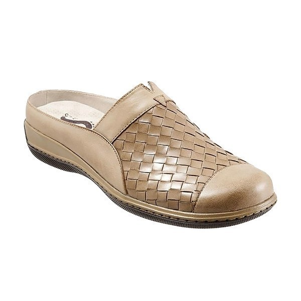 WOMEN'S SAN MARCOS WOVEN CEMENT LEATHER CLOG Thumbnail