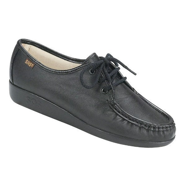 WOMEN'S SIESTA BLACK LEATHER CASUAL LACE-UP Thumbnail
