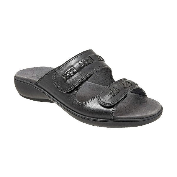 WOMEN'S KAP BLACK LEATHER SLIDE SANDAL Thumbnail