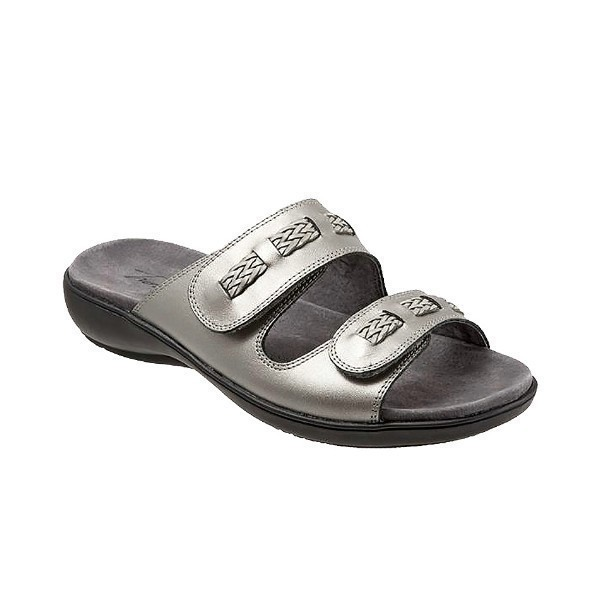 WOMEN'S KAP PEWTER LEATHER SLIDE SANDAL Thumbnail