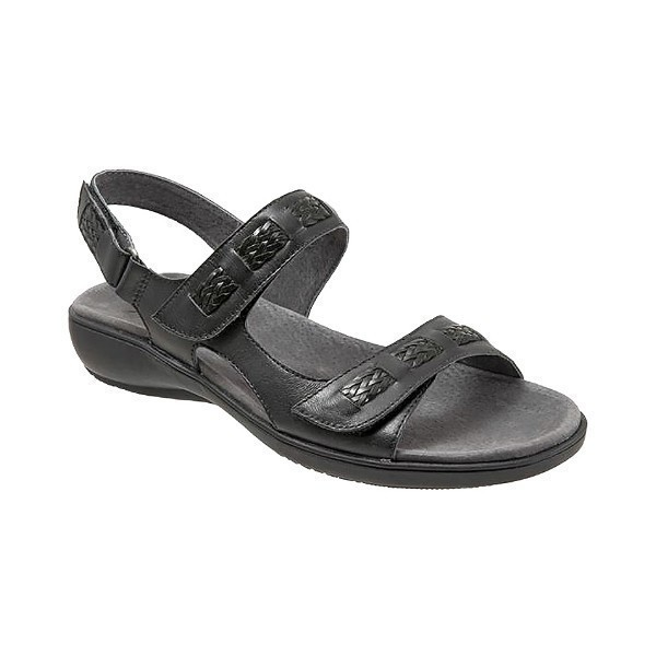 WOMEN'S KIP BLACK LEATHER SANDAL Thumbnail