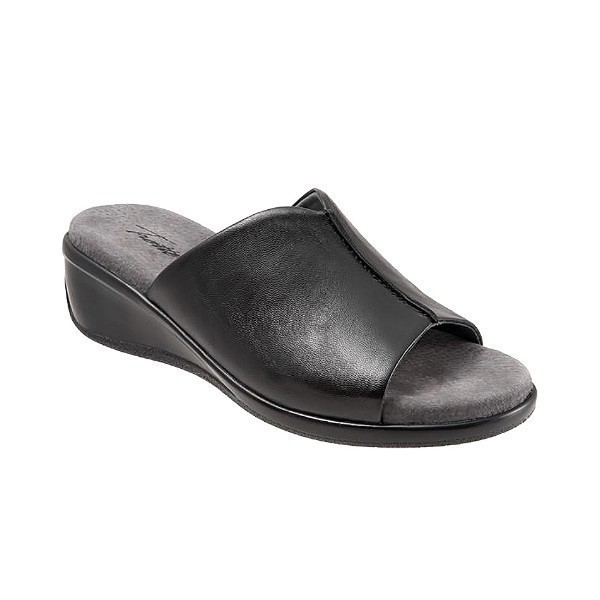 WOMEN'S ELLIE BLACK LEATHER SLIDE SANDAL Thumbnail