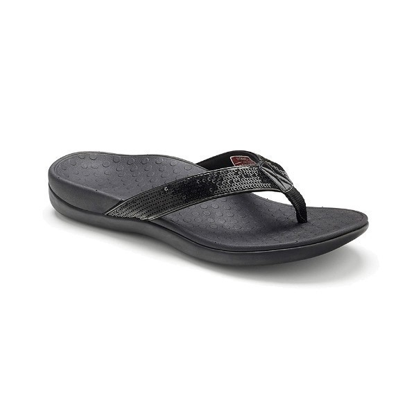 WOMEN'S TIDE SEQUIN BLACK THONG SANDAL Thumbnail
