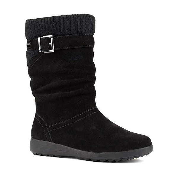 WOMEN'S VIVID BLACK SUEDE SHORT CASUAL BOOT Thumbnail