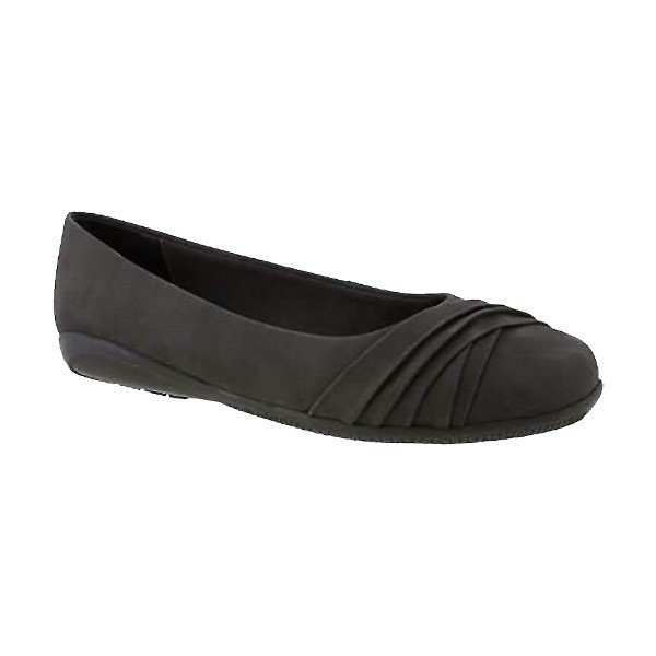 WOMEN'S FLICK BLACK NUBUCK DRESS FLAT Thumbnail