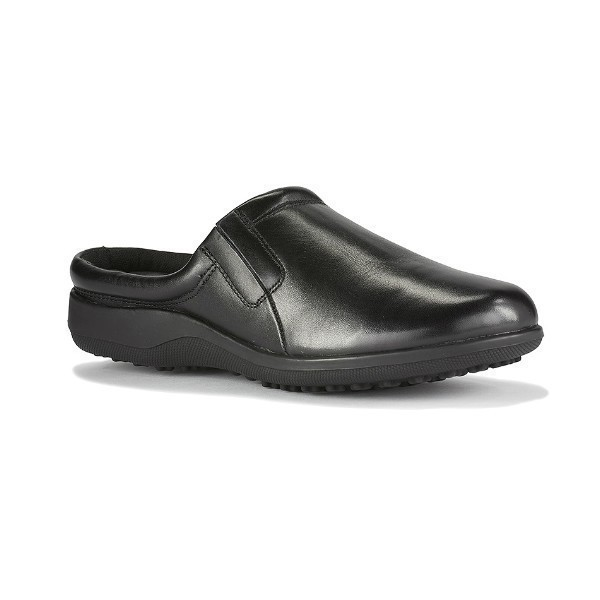 WOMEN'S ADOBE BLACK LEATHER CLOG Thumbnail