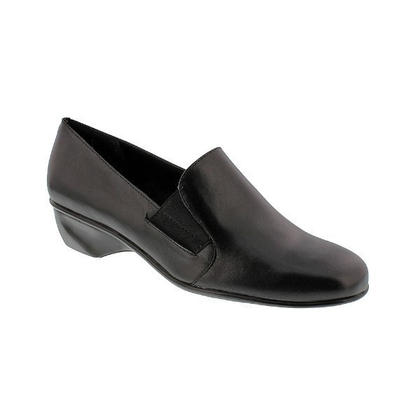 WOMEN'S TERI BLACK LEATHER SLIP-ON Thumbnail