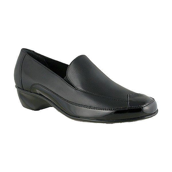 WOMEN'S TEA BLACK LEATHER SLIP-ON Thumbnail