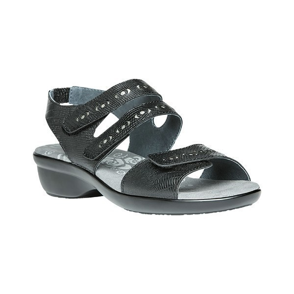 WOMEN'S KEELEY BLACK LEATHER SANDAL Thumbnail