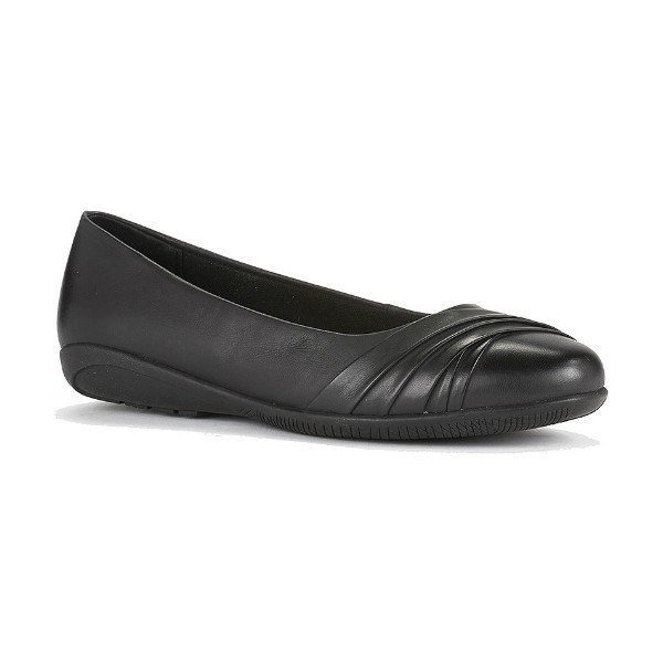 WOMEN'S FLICK BLACK WAXY LEATHER DRESS FLAT Thumbnail