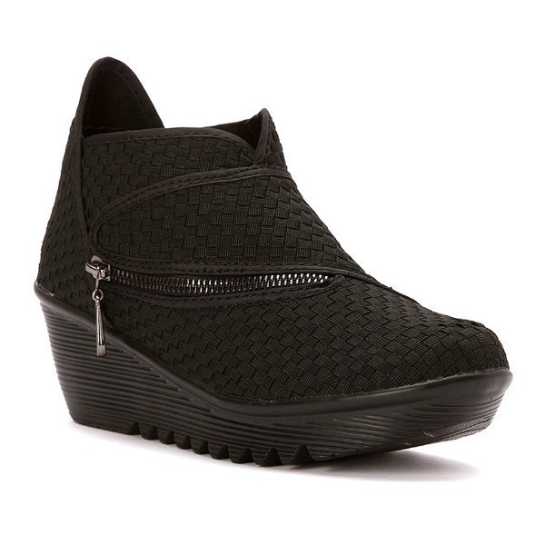 WOMEN'S ZIG ZAG BLACK STRETCH CASUAL SHOE Thumbnail